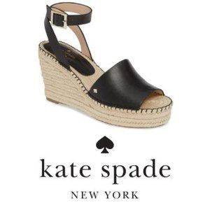 Kate spade new york Black wedge sandals Sz 10 NIB